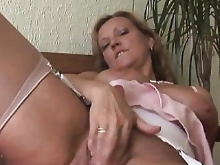 Blonde Bus Busty MILF Skirt Stocking Tease Upskirt