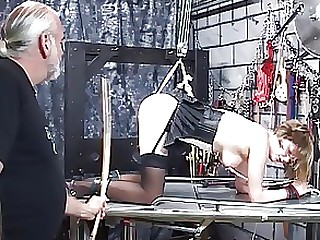 BDSM Blonde MILF Nylon Slave Train