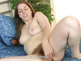 Cougar Dildo Fuck Hairy Latex Mammy Masturbation MILF