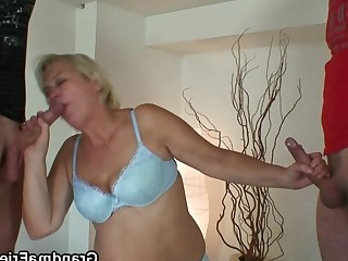 Blonde Friends Granny Hot Mature Threesome